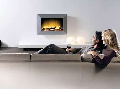 Electric Fireplace Wall Silver Feeling
