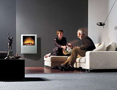 Electric Fireplace Wall Silver Stream